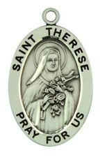 Saint St Therese Pray For Us Pendant 1 1/16 Inch Sterling Silver Medal