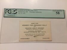 1960 President John F. Kennedy Rally Ticket Pass Kansas City Missouri PCGS 58