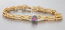 Massives Armband Gold 585 mit Rubin und Diamantrauten - Goldarmband um 1900