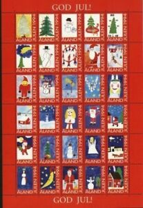 Aland. Christmas Sheet 1994 MNH, Unfolded. Santa,Angels,Snowman,Stars,Horse.