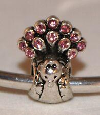 PINK DIAMANTE RHINESTONE PEACOCK BEAD Silver European Charm Bracelet
