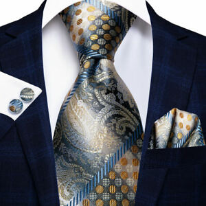 Paisley, Stripes, & Dots Necktie, Hanky, and Cufflinks