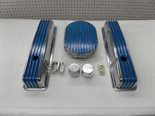 S B CHEVY TALL BLUE FIN CENTER BOLT VAL COVER /& BREATHER KIT CR#-X078