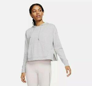 Nike Women's M YOGA JERSEY CROP HOODIE  Heathered Gray Pullover CQ8833-077 EUC