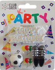HAPPY BIRTHDAY Motif CALCIO Candela & Stivali COMPLEANNO CAKE TOPPER DECORAZIONE KIT