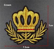 patch militaire couronne 7/7.5cm, broder et thermocollant ,fil métalissée doré