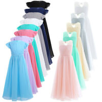 Kid Princess Flower Girl Dress Chiffon Party Prom Bridesmaid Wedding Formal Gown