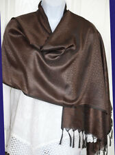 Banaras Silk Brown Woven Floral Paisley Design Shawl, Wrap, Stole with Fringes