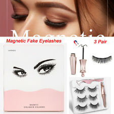3PCS Magnetic Fake Eyelashes Natural Eye liner Extension Liquid Eyeliner Tweezer