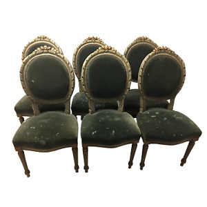 French Louis XVI Style Painted and Carved chairs with velvet upholstery-Set of 6