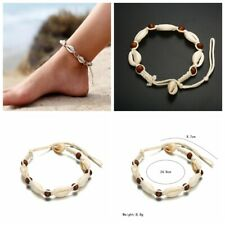 Vintage Punk Charm Woven Rope Shell Wooden Beads Adjustable Anklets Jewelry Gift