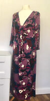 MARKS & SPENCER Per Una Dress Size 12 FLORAL PURPLE   Jersey 3/4 Sleeve Party
