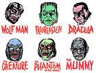 MANI-YACK - Universal Monsters - Iron-on Transfers • REPRO • FULL SET of SIX!!!