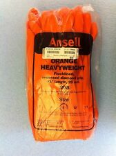 """(12 Pairs) Ansell Orange HeavyWeight Rubber Gloves 13"""" (Size 9) / O4642"""