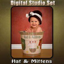 CHRISTMAS DIGITAL BACKGROUND BACKDROP & DIGITAL PROPS FOR PHOTOSHOP-Hat Mittens