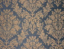 KIRK BRUMMEL Blue Gold Chenille Damask New 2 yard+