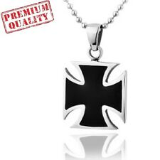Vintage Cross Medal Titanium Stainless Steel Men's Pendant with Necklace