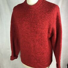 LL Bean Mens L 85% Wool Nylon Knit Crew Neck Sweater Vintage USA Made Red