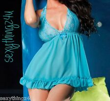 Blue Frilled Hem Babydoll & G-String   Perfect for sizes 8 & 10