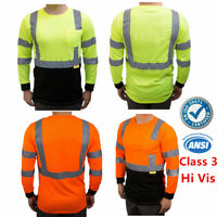 Hi Vis ANSI Class 3 Safety T Shirt Moisture Wicking Mesh Long Sleeve Reflective