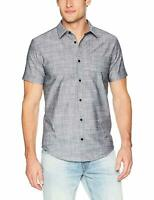 Calvin Klein Short Sleeve Button Down Shirt Size Medium Black NWT MSRP $69 A6509
