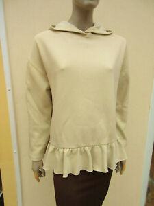 Zara - Light Khaki Fleece Lined Frill Hem Hoodie / Sweatshirt - Oversized S
