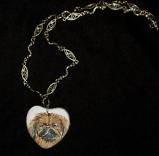 Pekingese Dog Chain Necklace Hand Painted Ceramic Pendant Jewelry