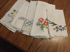 5 Vintage Hand Embroidered Hand Towels
