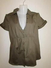 MANGO Ladies Khaki Green Fitted Blouse Shirt Top With Stretch Size EUR L USA 8