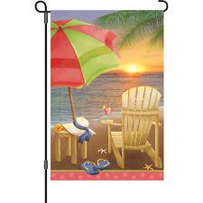"* BEACH AT SUNSET * Yard 12"" FLAG Garden Patio Decor  SUMMER OCEAN TROPICAL FUN!"