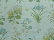 Sanderson Curtain Fabric HAREBELLS & VIOLETS 0.9m Lemon/Teal 100% Linen 90cm