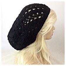 NEW Women's Handmade SLOUCHY Beanie Tam Hat Rasta EXTRA BAGGIE Soft Solid BLACK