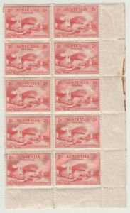 Stamps 2d red Sydney Harbour Bridge plate 1 bottom right corner block of 10, MUH