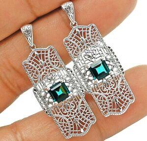 London Blue Topaz 925 Solid Sterling Silver Art Nouveau Earrings Jewelry VA2