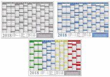 Wandkalender Wandplaner Jahresplaner Kalender 2018 DIN A0 A1 A2 A3 A4 GEFALTET