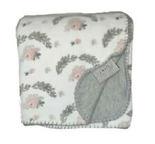 AMARI Baby Girl Gray Pink White Floral 2Ply Blanket Stitched Edges Lovey SOFT