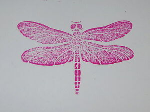 """Dragonfly Rubber Stamp Detailed Wings Mounted on Acrylic Block Insects SU 2.5"""""""