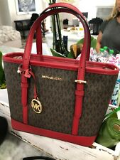 Michael Kors Jet Set XS Mini Carryall Convertible Tote & Dustbag Brown Red $328