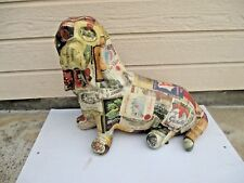 "Large 22"" Paper Mache Basset Hound Dog Statue Figure Sculpture with Wine Labels"