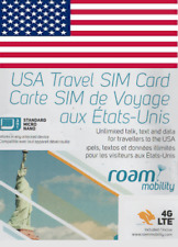 Roam Mobility USA, New SIM card. NANO, MICRO or STD size. For travel in USA.