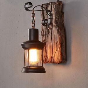 Retro Vintage Industrial Wood Wall Sconce Light Loft Rustic Lamp Light Fixture