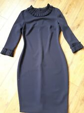 AD LIB LONDON NAVY PENCIL RUFFLE DRESS 14