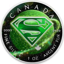 """Box /& COA 2016 Canada Maple /""""SUPERMAN NEWSPAPER/"""" Colorized 1oz .9999 Silver"""