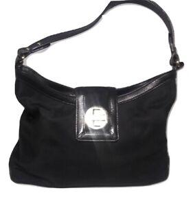 Kate Spade Hobo Shoulder Bag Black Nylon Leather Trim