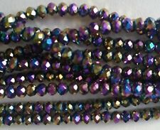 100 Faceted Glass Rondelle Beads 3mm Round ~ Electroplated Purple - VERY SMALL