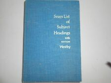 Sears List of Subject Headings 10th Edition, Westby, 1972, hardcover