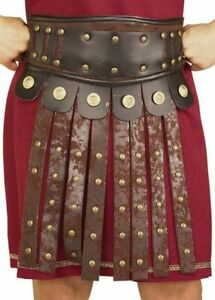 Roman Solider Belt W/ Apron Brown Poly Faux Suede Look W/ Blk Vinyl & Studs OS