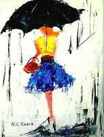PEINTURE TABLEAU Boulevard parapluie noir acrylique signé TINOCO cote AKOUN