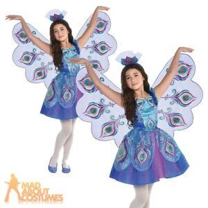 Kids Girls Pretty Peacock Costume Animal Bird World Book Day Fancy Dress Outfit