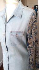 KAPORAL🎀CHEMISE BI--MATIERE jeans bleu clair+coton imprimé cachemire S 36-38